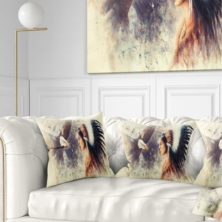 Designart 'Indian Woman and Eagle' Portrait Throw Pillow