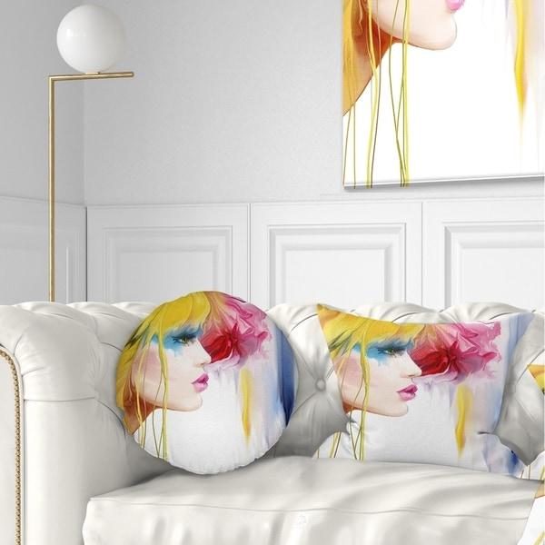 Designart 'Girl with Colorful Hair' Portrait Throw Pillow