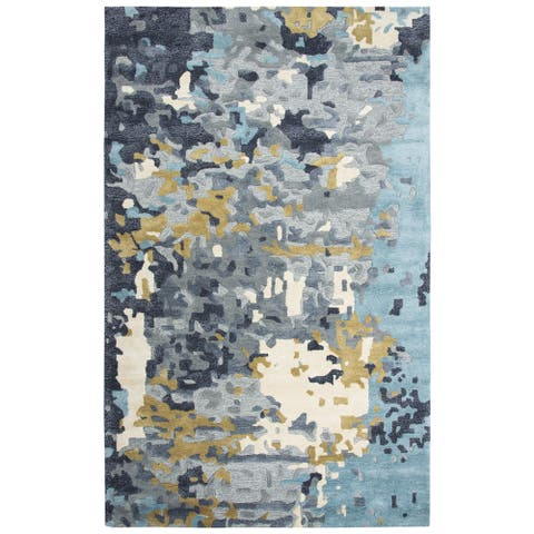 Rizzy Home Mod Abstract Grey Wool Viscose Area Rug - 8' x 10'