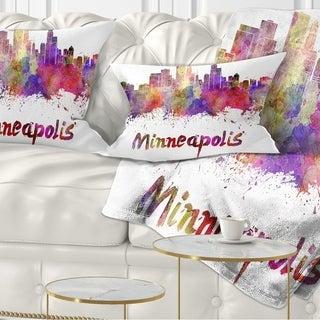 Designart 'Minneapolis Skyline' Cityscape Throw Pillow