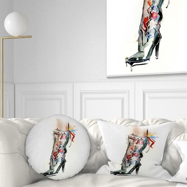 Designart 'Decorative Shoe' Abstract Throw Pillow