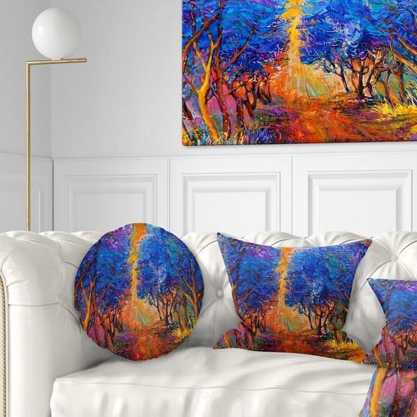 Designart 'Blue Autumn Forest' Landscape Printed Throw Pillow