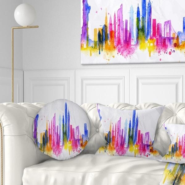 Designart 'Silhouette Overlay New York' Cityscape Throw Pillow
