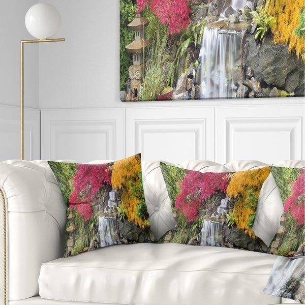 Designart 'Japanese Maple Trees' Floral Throw Pillow