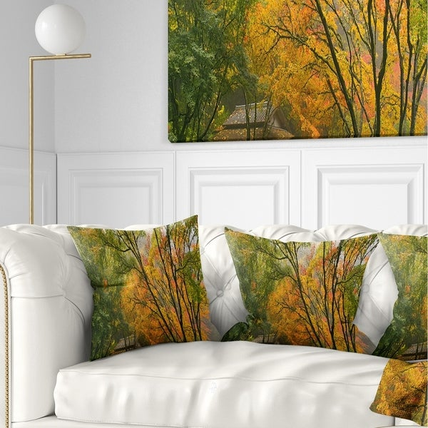 Designart 'Canopy of Maple Trees in Fall' Floral Photo Throw Pillow