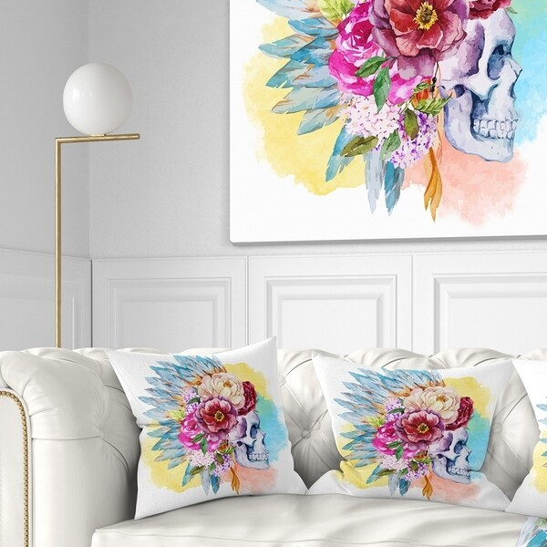 Designart 'Skull and Flowers' Floral Throw Pillow