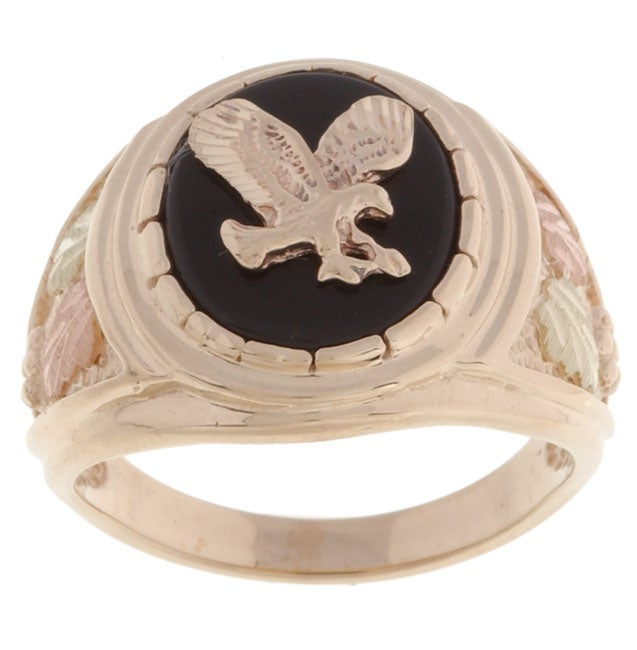 Black Hills Gold Mens Eagle and Onyx Ring