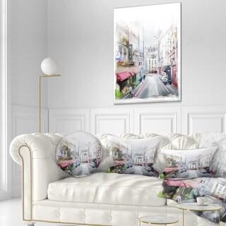 Designart 'City Street Illustration' Cityscape Throw Pillow