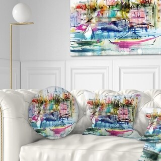 Designart 'Houses and Boats' Landscape Printed Throw Pillow