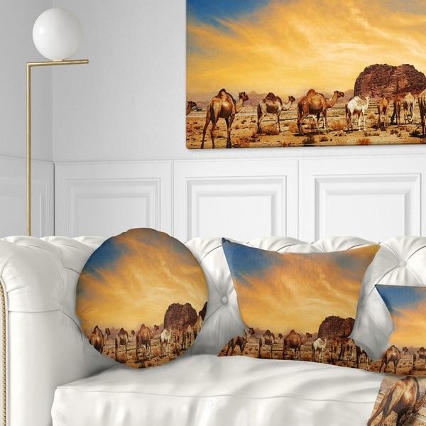 Designart 'Camels in Wadi Rum' Photography Throw Pillow
