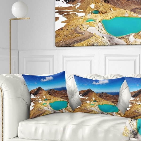 Designart 'New Zealand Emerald Lakes' Photography Throw Pillow