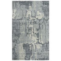 Rizzy Home Mod Abstract Grey Wool and Viscose Area Rug - 8' x 10'