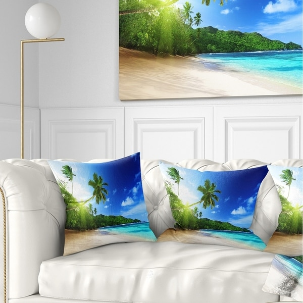 Designart 'Sunset Beach with Palm' Landscape Photography Throw Pillow