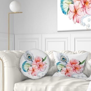 Designart 'Flowers and Peacock Feather' Floral Throw Pillow