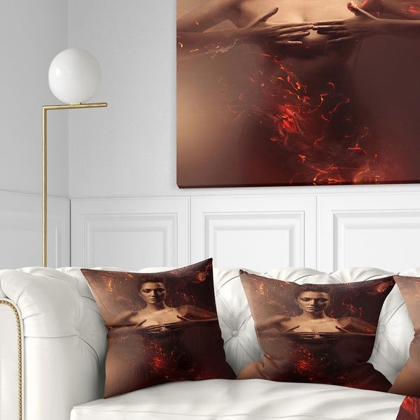 Designart 'Sensual Nude Woman in Fire' Contemporary Throw Pillow