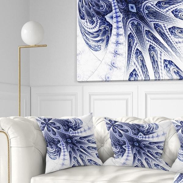 Designart 'Symmetrical Dark Blue Fractal Flower' Floral Throw Pillow