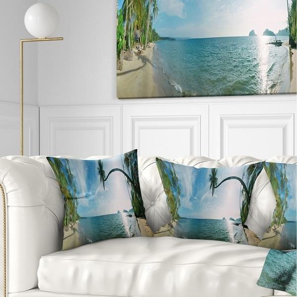 Designart 'Tropical Beach Panorama' Photography Throw Pillow