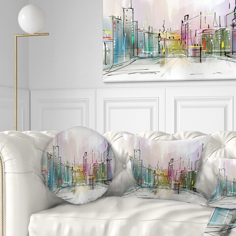 Designart 'City in a Distance Illustration' Cityscape Throw Pillow