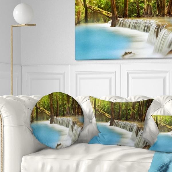 Designart 'Clam Huai Mae Kamin Waterfall' Landscape Printed Throw Pillow