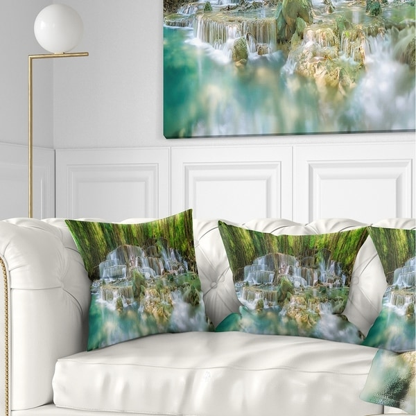 Designart 'Level 6 of Huaimaekamin Waterfall' Landscape Printed Throw Pillow