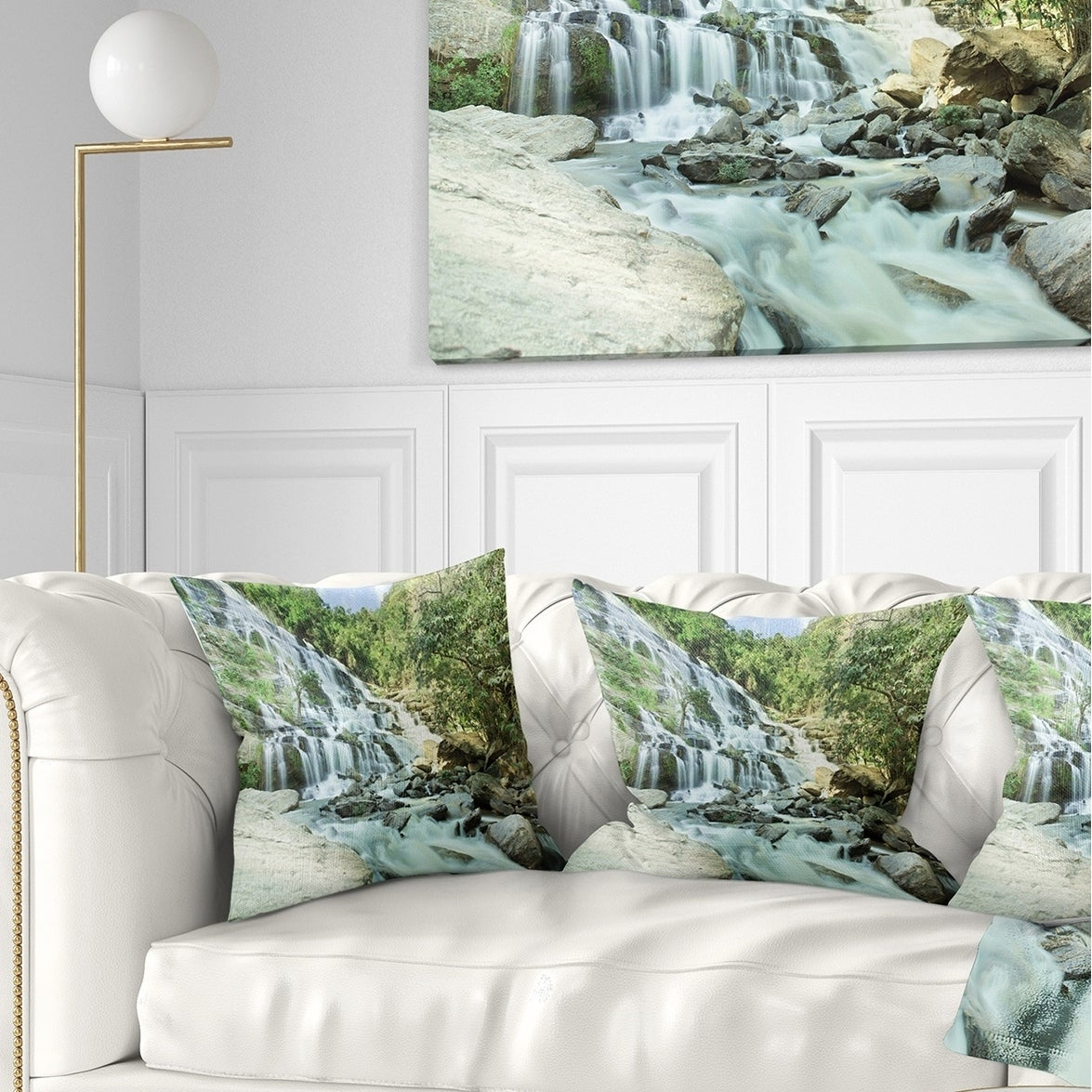 Designart Maeyar Waterfall In Rain Landscape Photography Throw Pillow On Sale Overstock 20948087 Square 16 In X 16 In Small