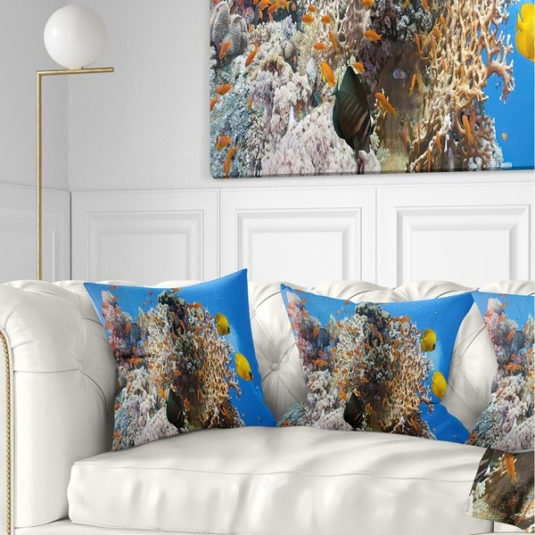 Designart 'Coral Scene Panorama' Photography Throw Pillow