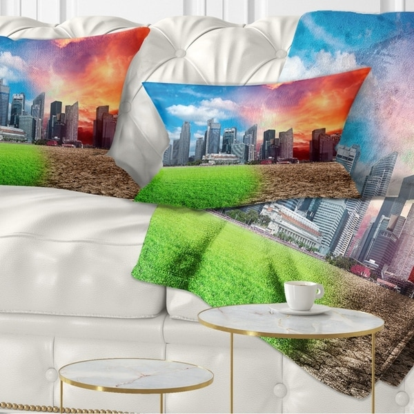 Designart 'Global Warming' Landscape Printed Throw Pillow