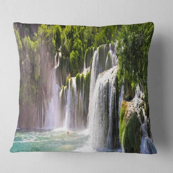 Designart Krka Waterfall Landscape Abstract Throw Pillow On Sale Overstock 20948186