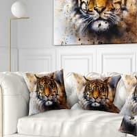 Designart 'Tiger Collage with Rust Design' Animal Throw Pillow