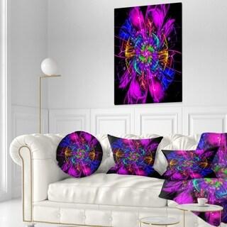 Designart 'Ideal Fractal Flower Digital Art in Purple' Floral Throw Pillow