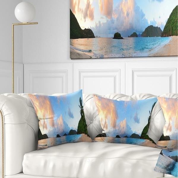 Designart 'Beach Sunset with Clouds' Landscape Photography Throw Pillow