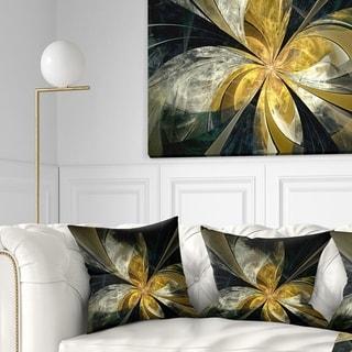 Designart 'Symmetrical White Gold Fractal Flower' Floral Throw Pillow