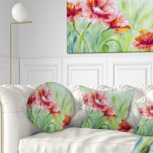 Designart 'Pale Red Poppies' Floral Throw Pillow