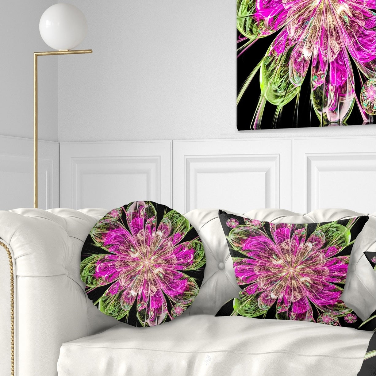Designart Perfect Fractal Flower In Pink And Green Floral Throw Pillow Overstock 20948313