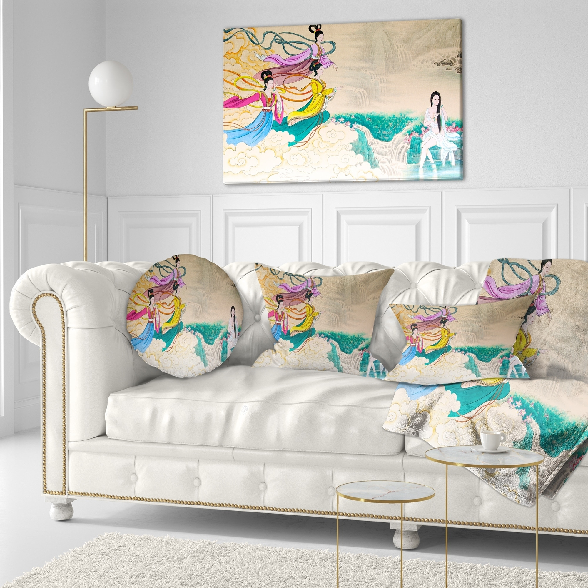Designart Classical Chinese Painting Abstract Throw Pillow On Sale Overstock 20948343