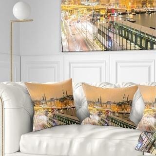 Designart 'Stockholm Cityscape Panorama' Cityscape Photo Throw Pillow