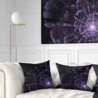 Designart 'Glowing Crystal Purple Fractal Flower' Floral Throw Pillow
