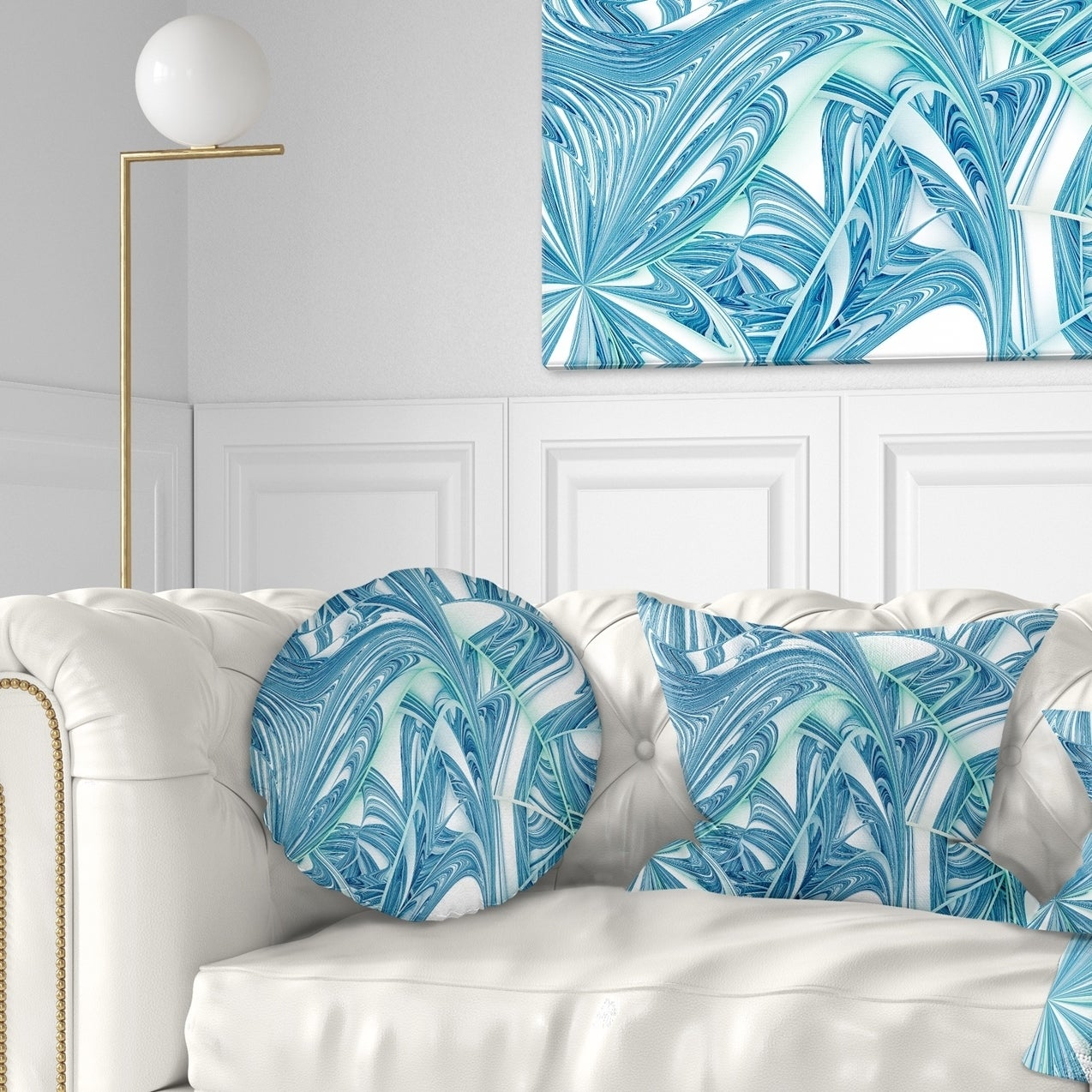 Designart Unique Blue Fractal Design Pattern Abstract Throw Pillow On Sale Overstock 20948393