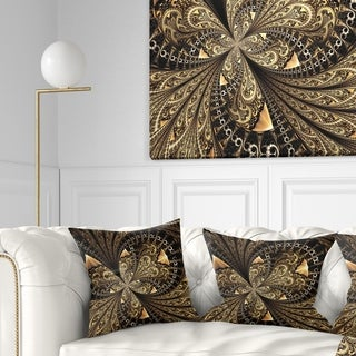 Designart 'Brown Fractal Flower Pattern Digital Art' Floral Throw Pillow
