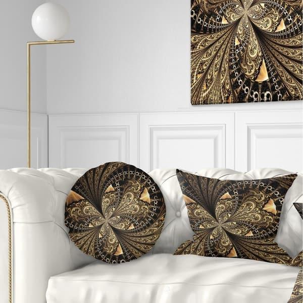 Designart Brown Fractal Flower Pattern Digital Art Floral Throw Pillow On Sale Overstock 20948410