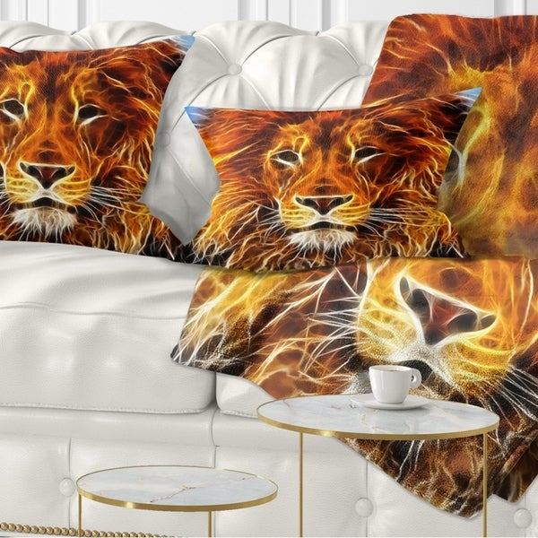 Designart 'Drawing of the King of Jungle' Animal Throw Pillow