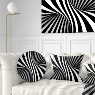 Designart 'Black and White Spiral' Abstract Throw Pillow