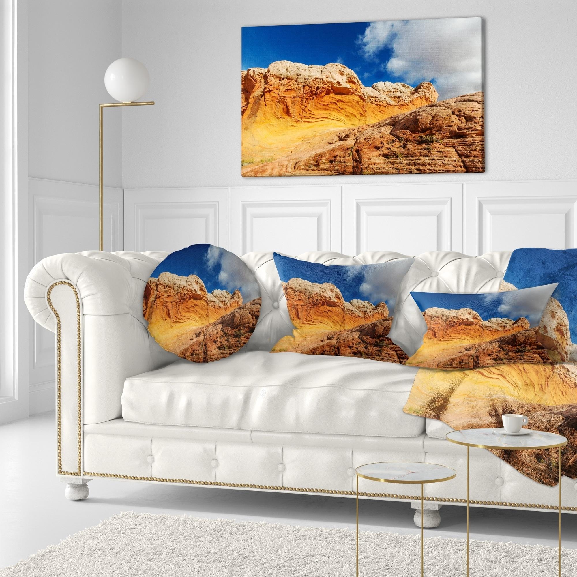 Designart Vermillion Cliffs Under Blue Sky Landscape Printed Throw Pillow On Sale Overstock 20948465
