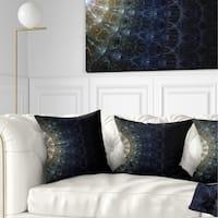 Designart 'Symmetrical Blue Silver Fractal Flower' Abstract Throw Pillow
