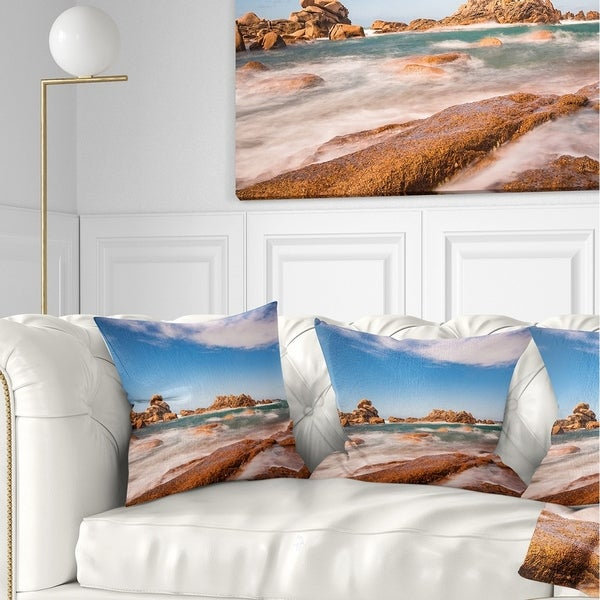 Designart 'Atlantic Ocean Cost in Brittany' Photography Throw Pillow