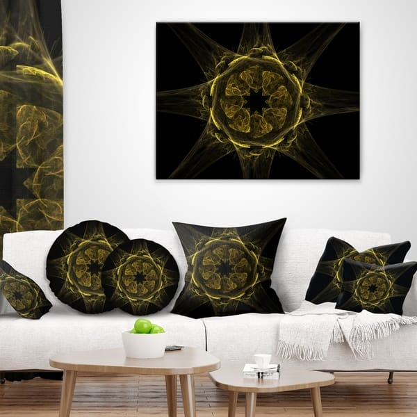 Designart Glowing Golden Radial Fractal Flower Art Floral Throw Pillow On Sale Overstock 20948504