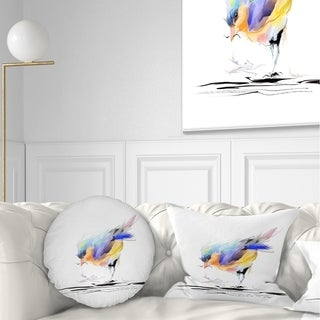 Designart 'Cute Bird in Purple and Yellow' Watercolor Painting Throw Pillow