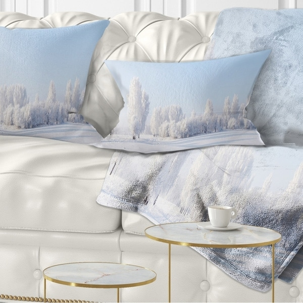 Designart 'Winter Trees Covered with Frost' Landscape Photography Throw Pillow