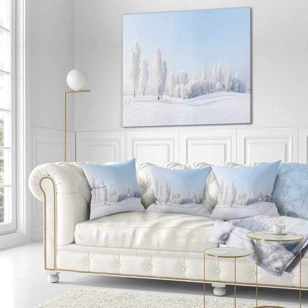 Designart Winter Trees Covered With Frost Landscape Photography Throw Pillow On Sale Overstock 20948521
