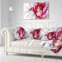 Designart 'Red Rose Illustration' Floral Throw Pillow